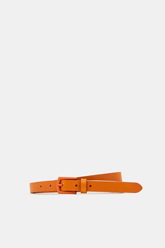 Narrow belt made of chromium-free leather