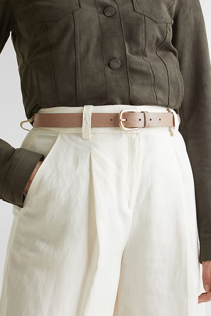 Leather belt, TAUPE, detail image number 2