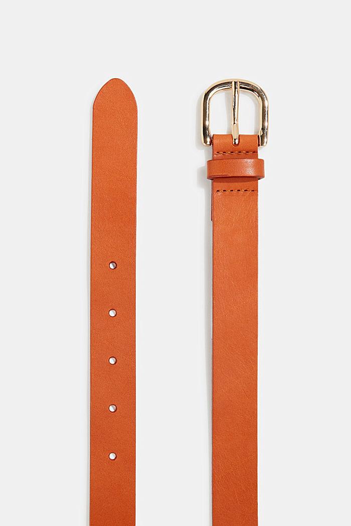 Leather belt, ORANGE, detail image number 1
