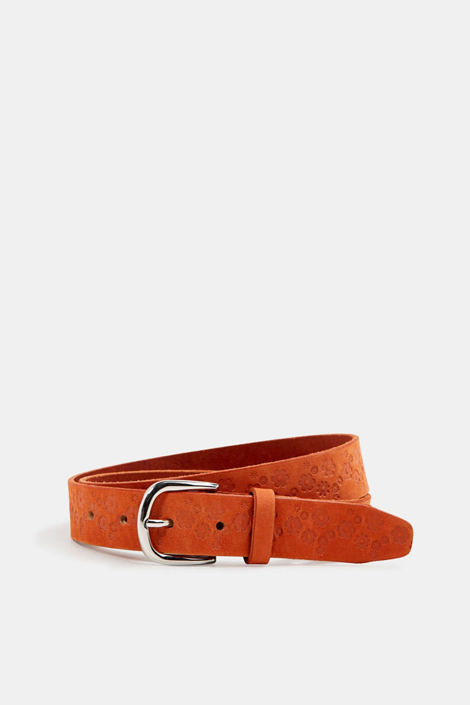 Made of leather: Embossed belt, CORAL ORANGE, detail