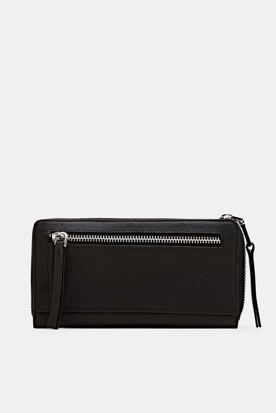 Waiter-style purse, in leather, BLACK, detail image number 2