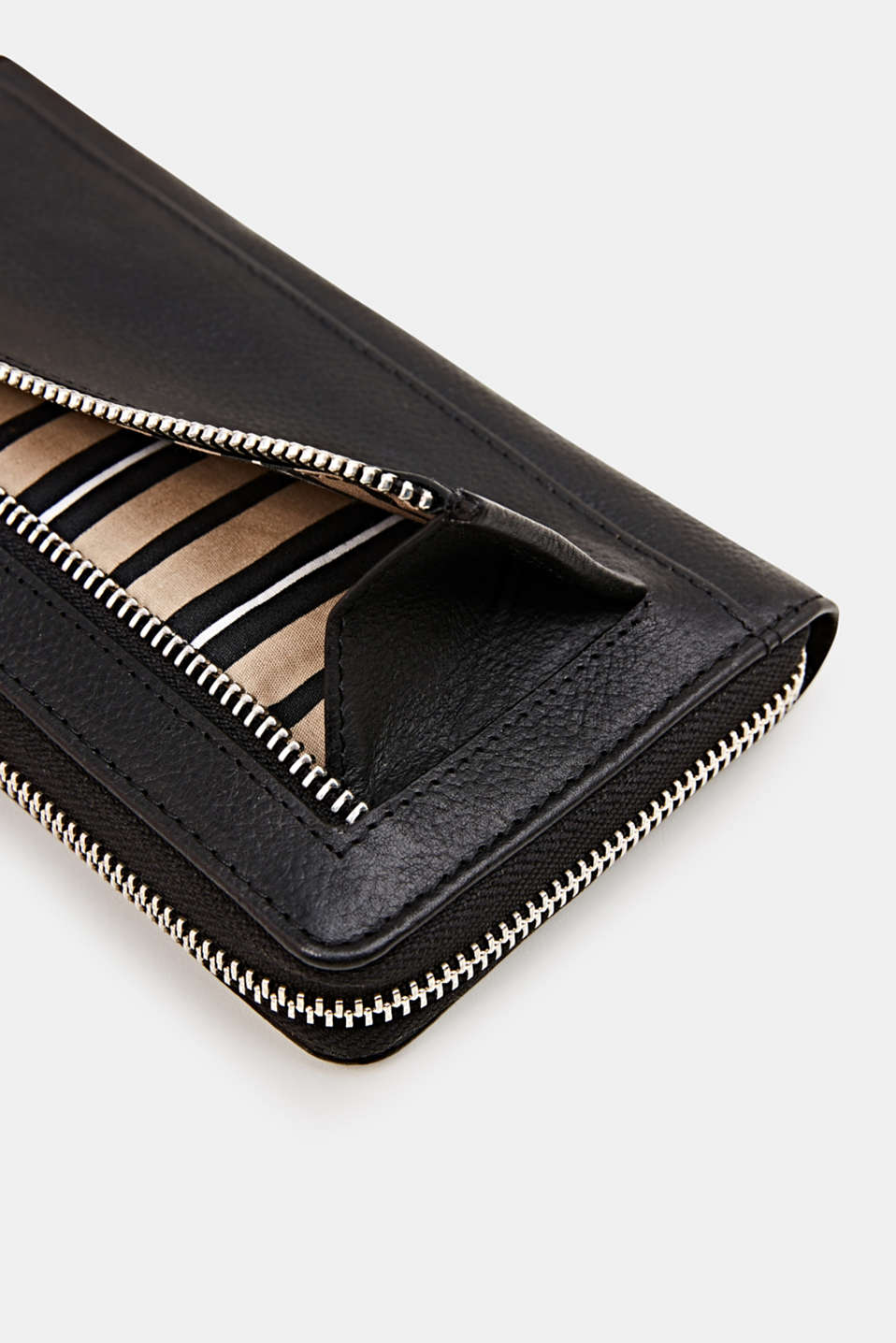 Waiter-style purse, in leather, BLACK, detail image number 1