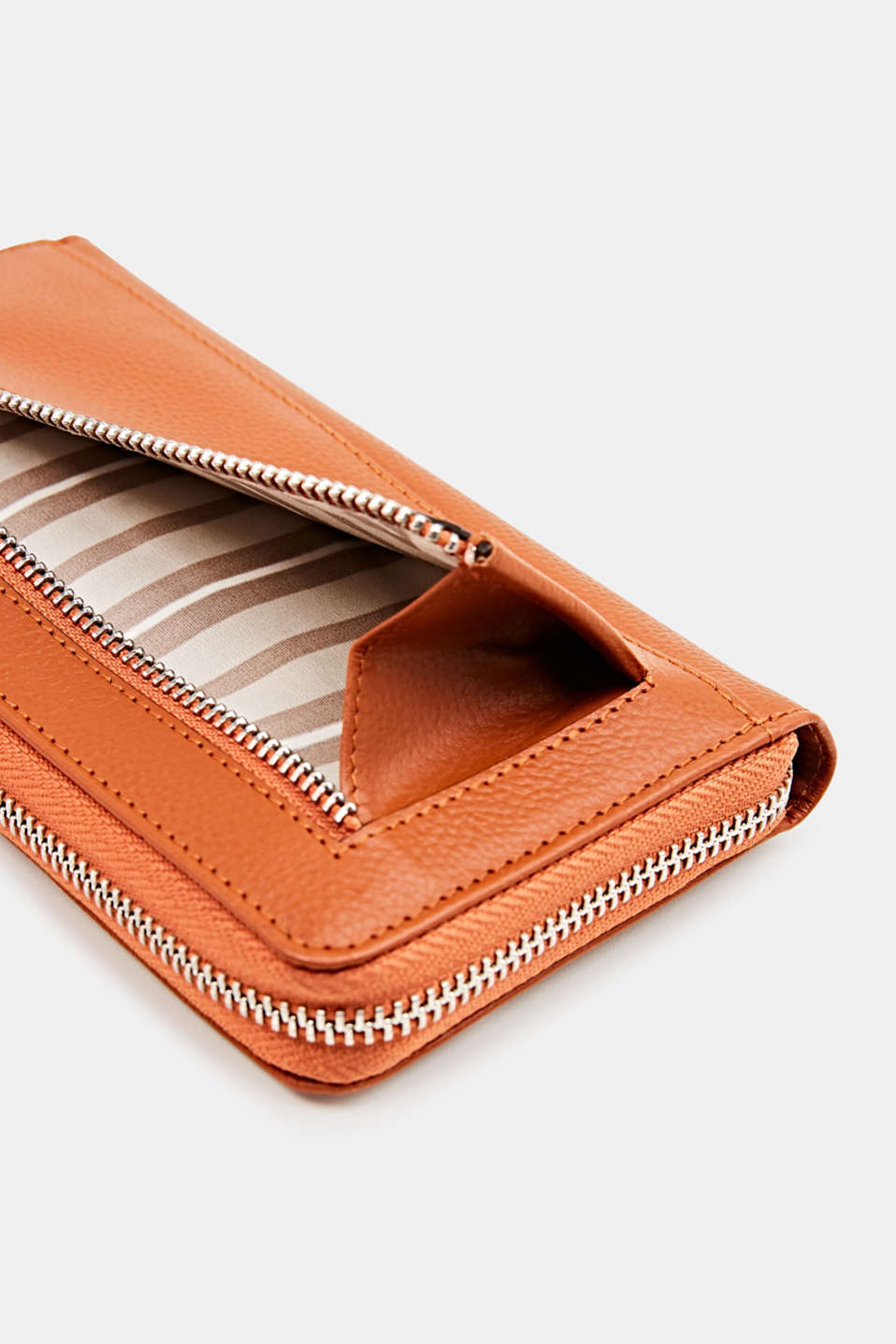 Waiter-style purse, in leather, BURNT ORANGE, detail image number 3