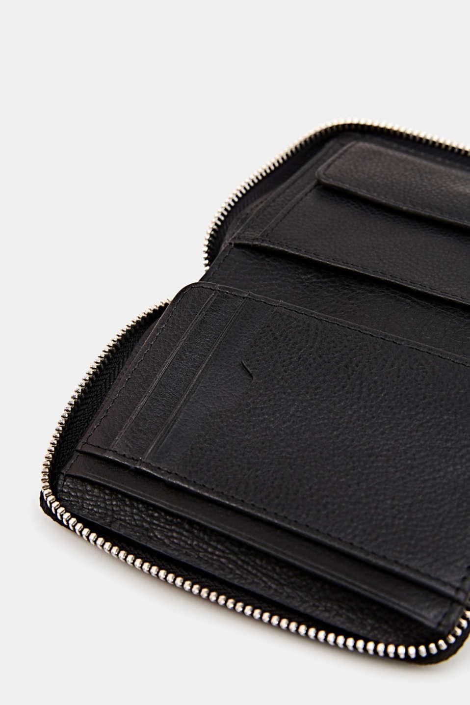 Leather purse, BLACK, detail image number 1