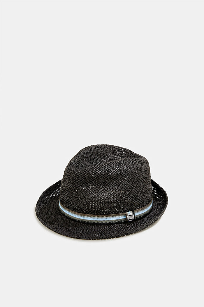 Trilby hat with a striped band, BLACK, detail image number 0