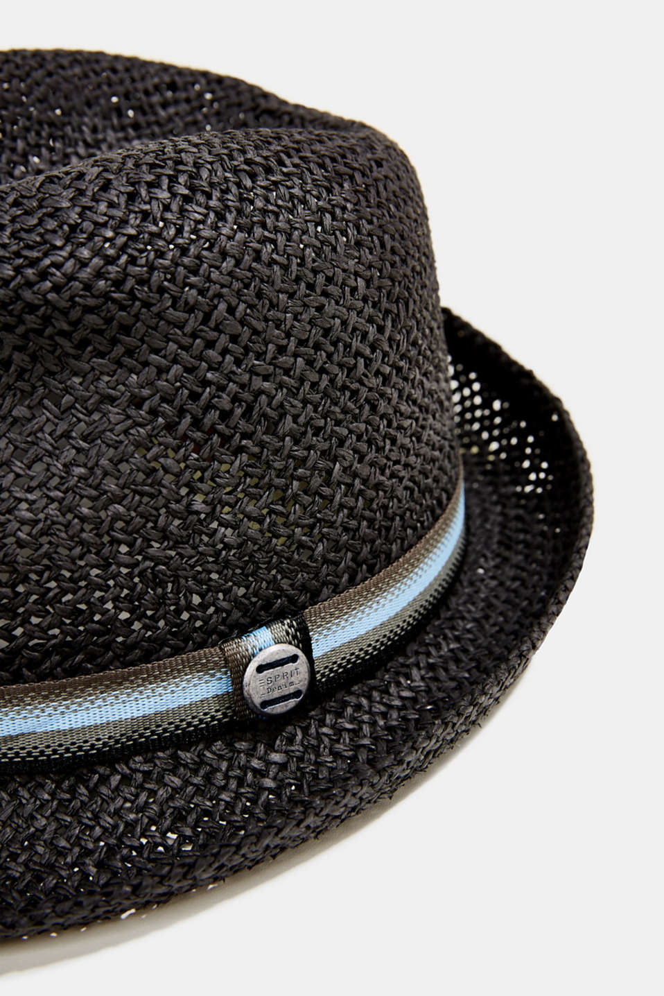 Trilby hat with a striped band, BLACK, detail image number 1