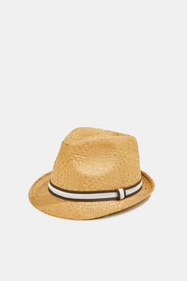 Trilby hat with a striped band, CAMEL, detail