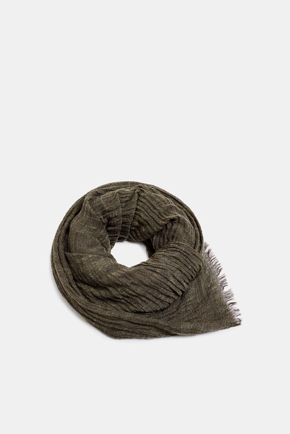 Slub scarf in a crinkle look, OLIVE, detail image number 0