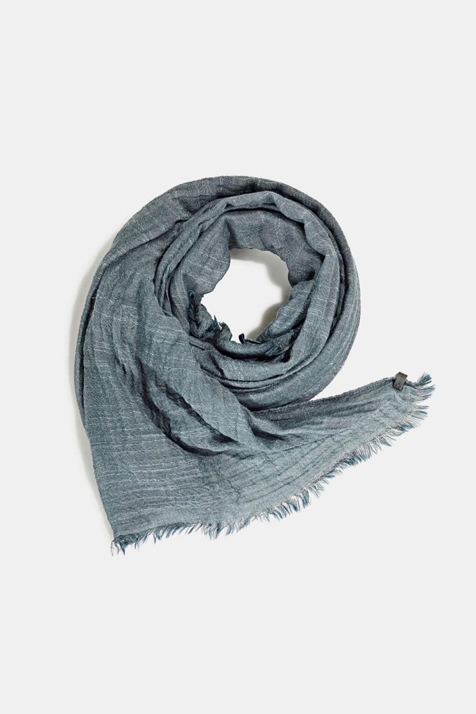 Slub scarf in a crinkle look, TEAL BLUE, detail image number 0