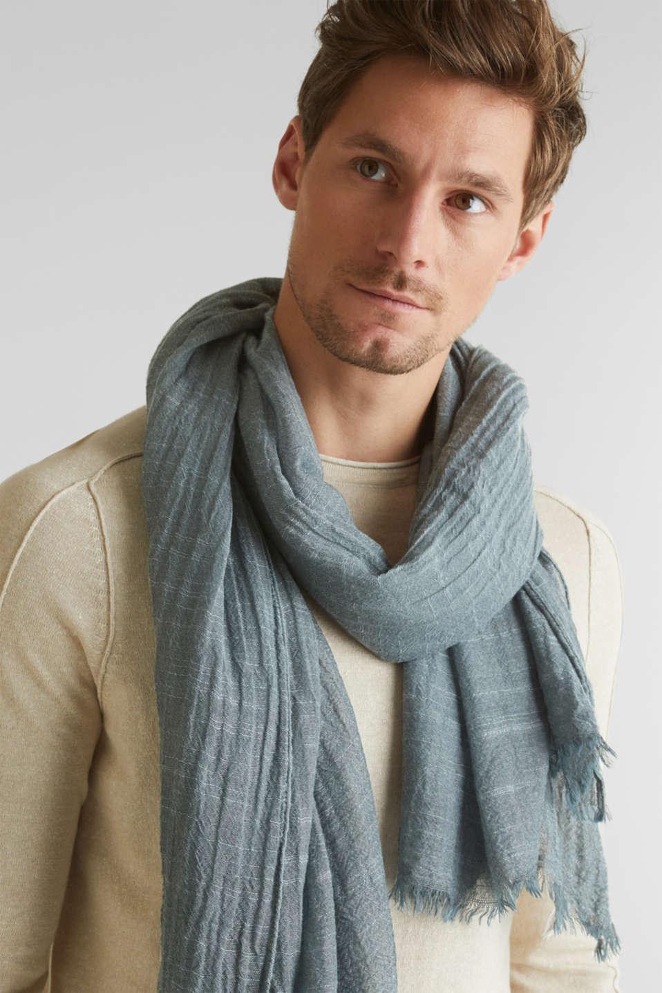 Slub scarf in a crinkle look, TEAL BLUE, detail image number 1