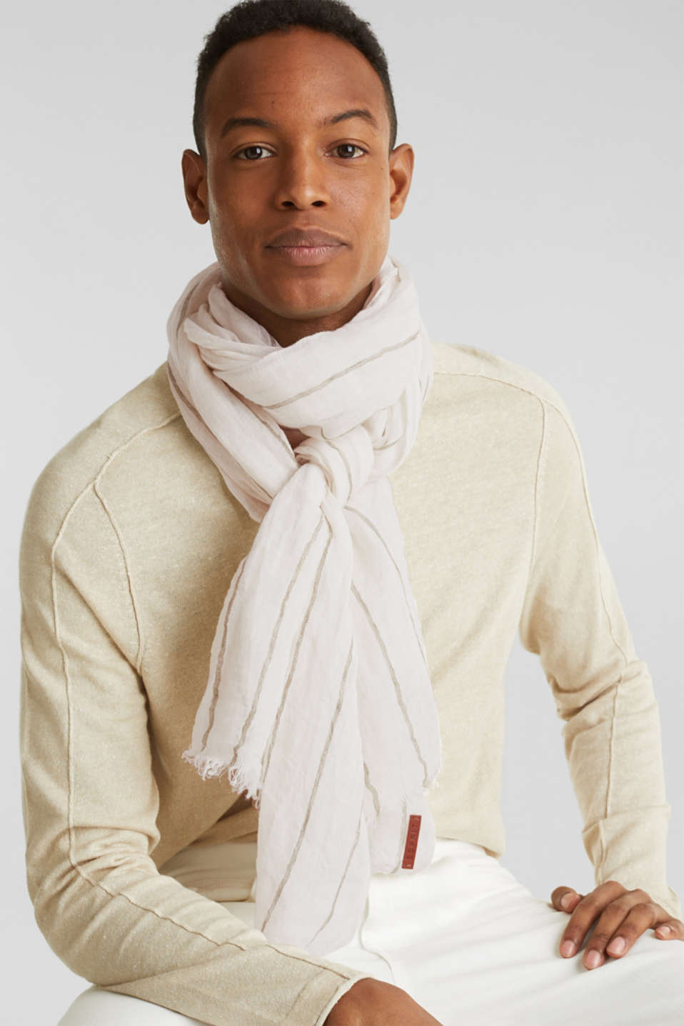 Striped scarf made of 100% linen, OFF WHITE, detail image number 1