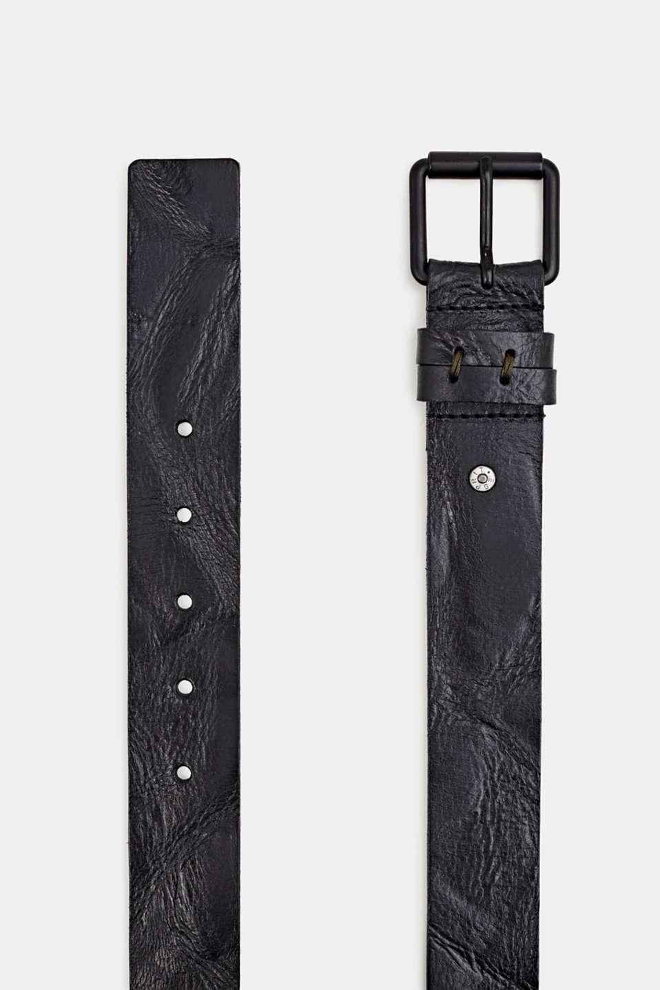 Buffalo leather belt, BLACK, detail image number 1