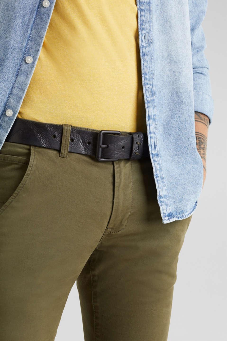 Buffalo leather belt, BLACK, detail image number 2
