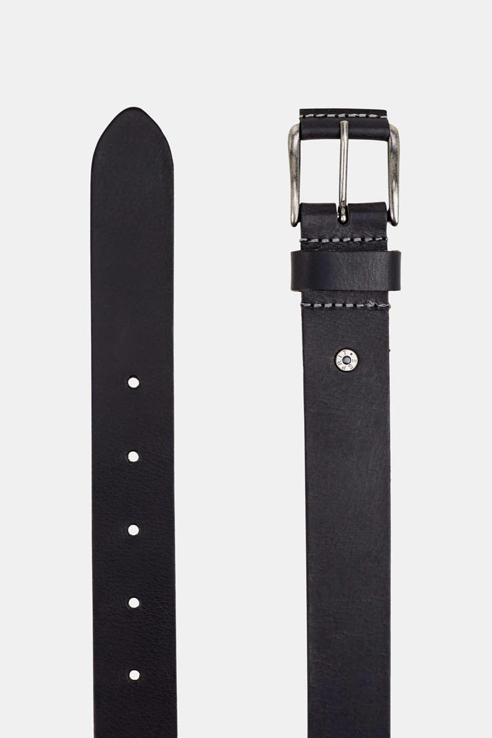 Leather belt, BLACK, detail image number 1