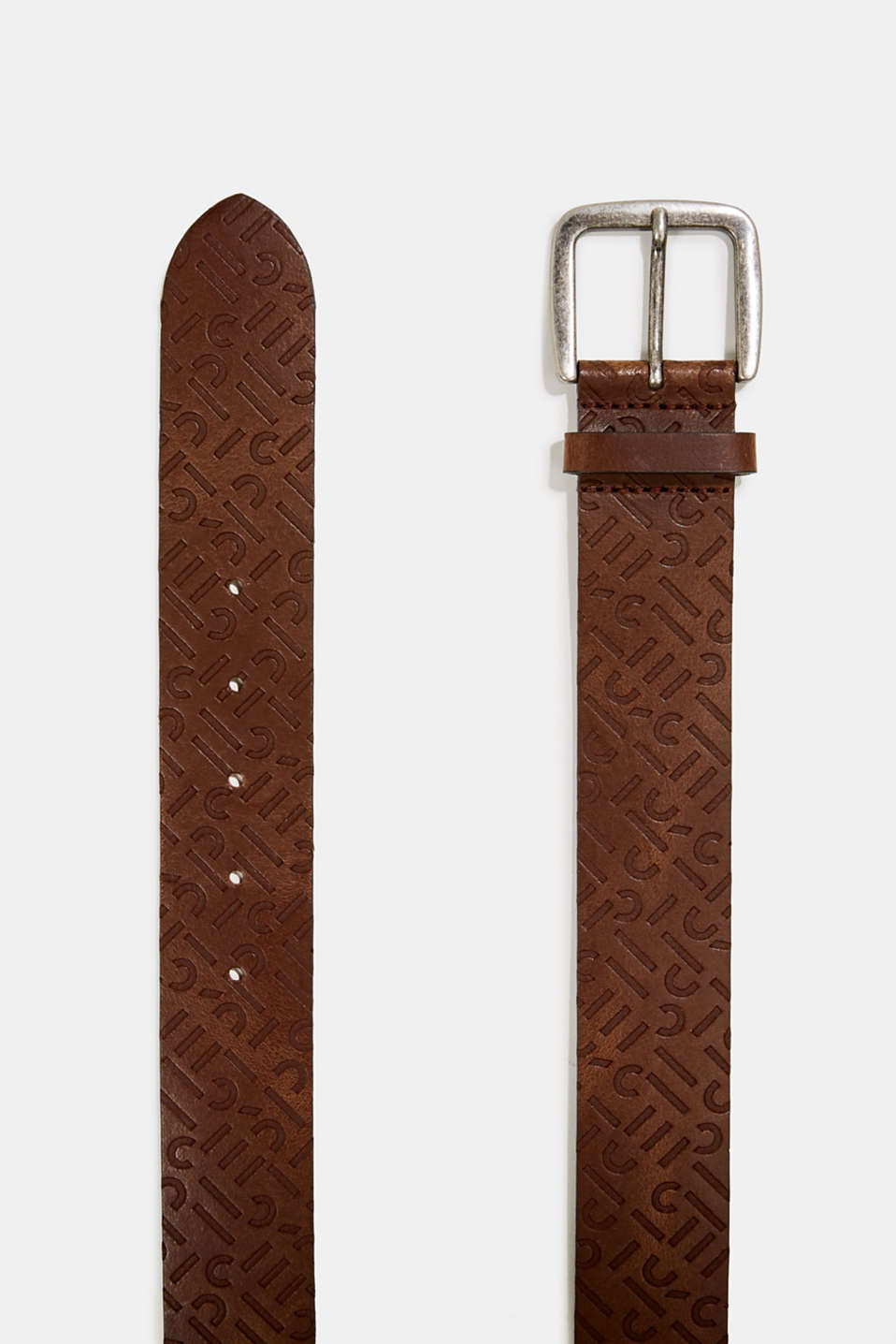 Leather belt with an embossed logo, BROWN, detail image number 1