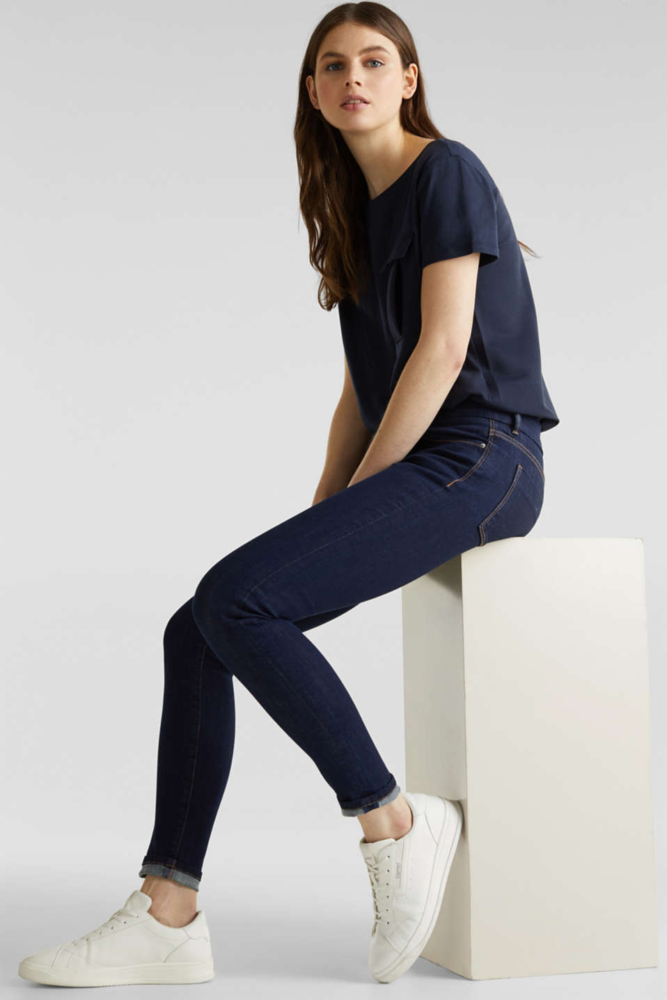 Clean jeans with organic cotton, BLUE RINSE, detail image number 5