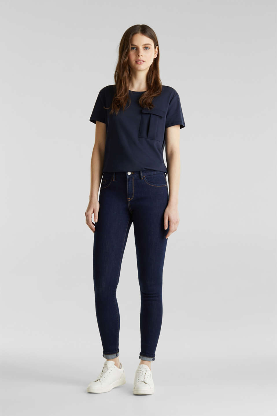 Clean jeans with organic cotton, BLUE RINSE, detail image number 1