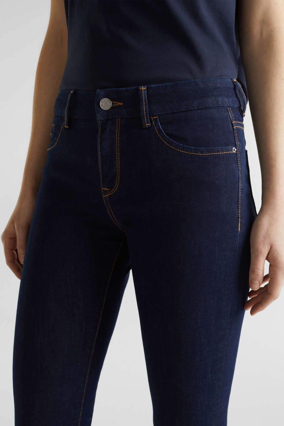 Clean jeans with organic cotton, BLUE RINSE, detail image number 2