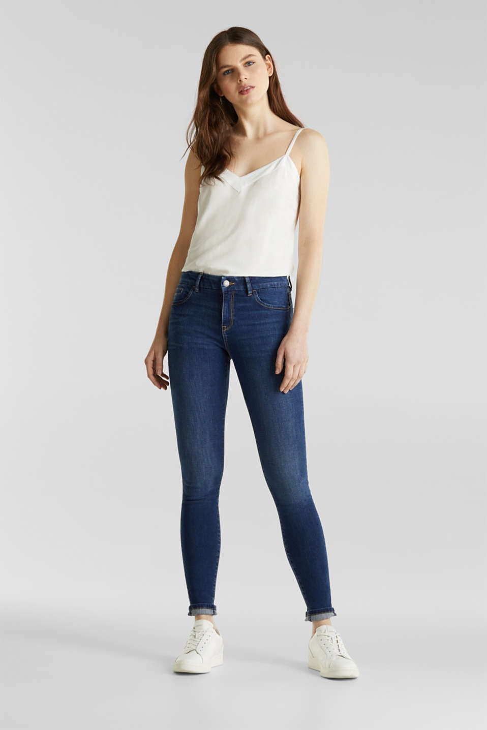 Clean jeans with organic cotton, BLUE MEDIUM WASH, detail image number 0