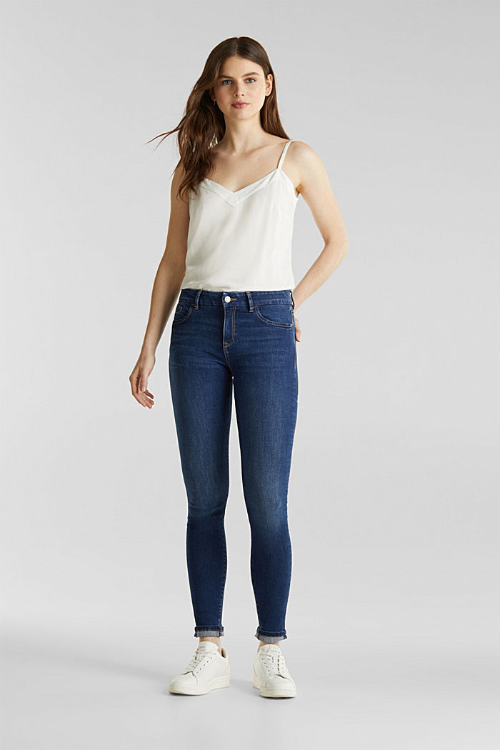 Clean jeans with organic cotton, BLUE MEDIUM WASHED, detail image number 1