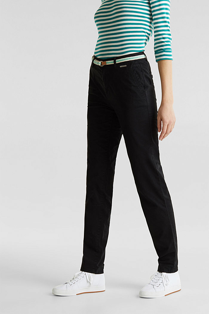 Summer chinos with belt and stretch, BLACK, detail image number 6