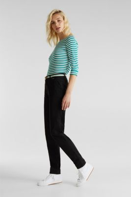 Summer chinos with belt and stretch, BLACK, detail