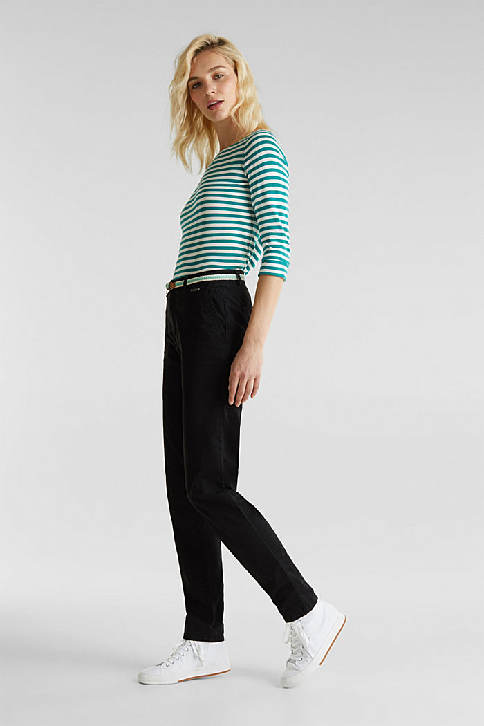 Summer chinos with belt and stretch, BLACK, detail image number 1