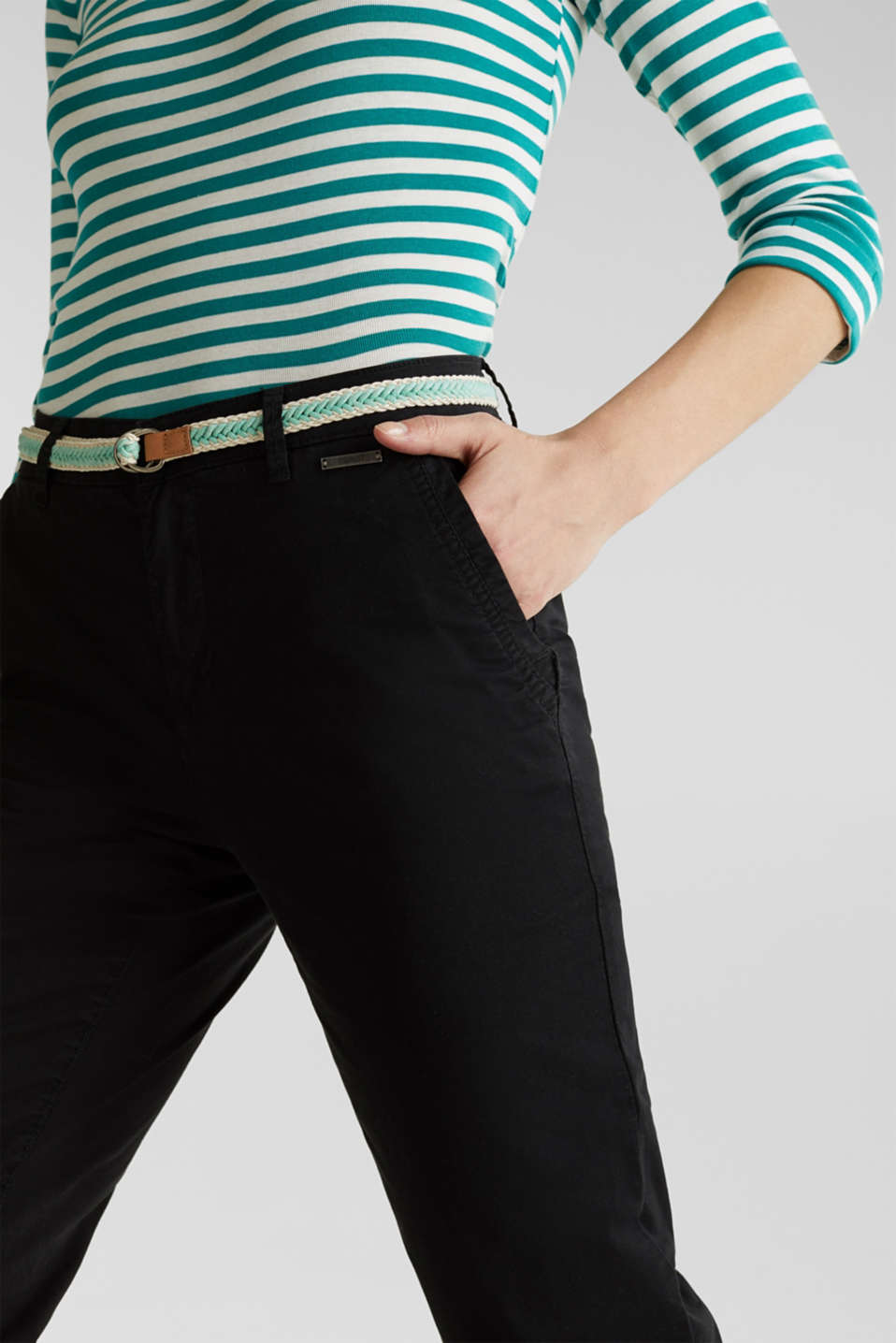 Summer chinos with belt and stretch, BLACK, detail image number 2