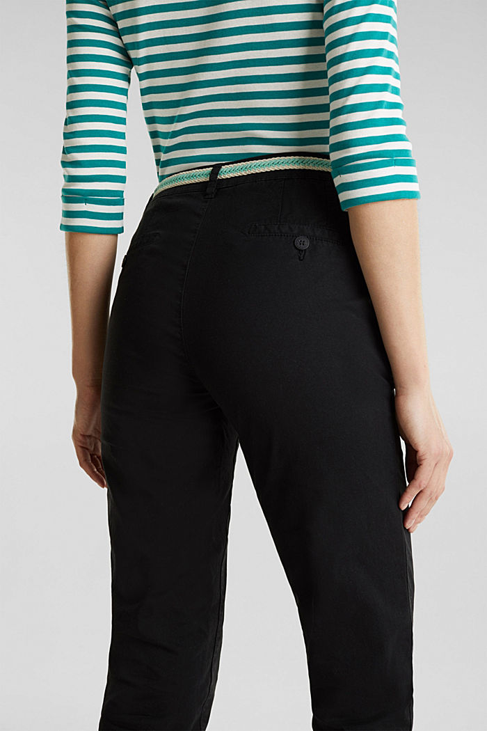 Summer chinos with belt and stretch, BLACK, detail image number 5