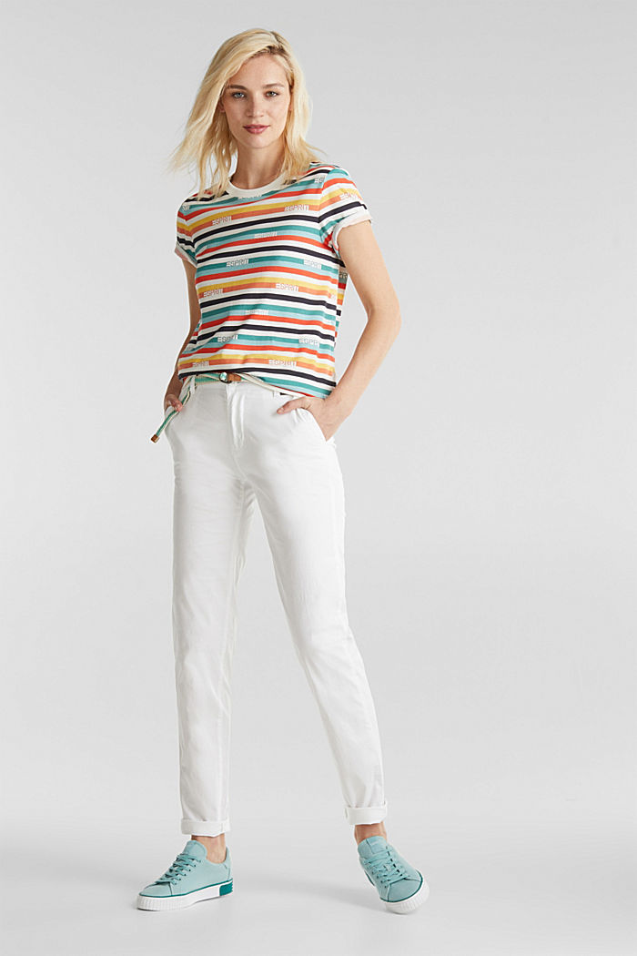 Summer chinos with belt and stretch, WHITE, detail image number 0