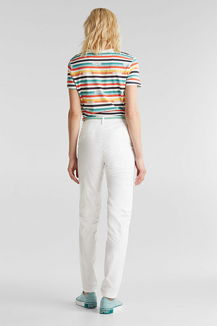 Summer chinos with belt and stretch, WHITE, detail image number 3