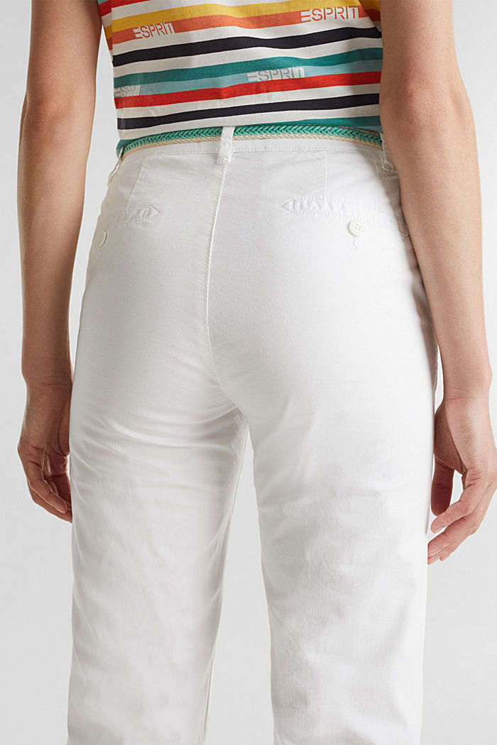 Summer chinos with belt and stretch, WHITE, detail image number 5