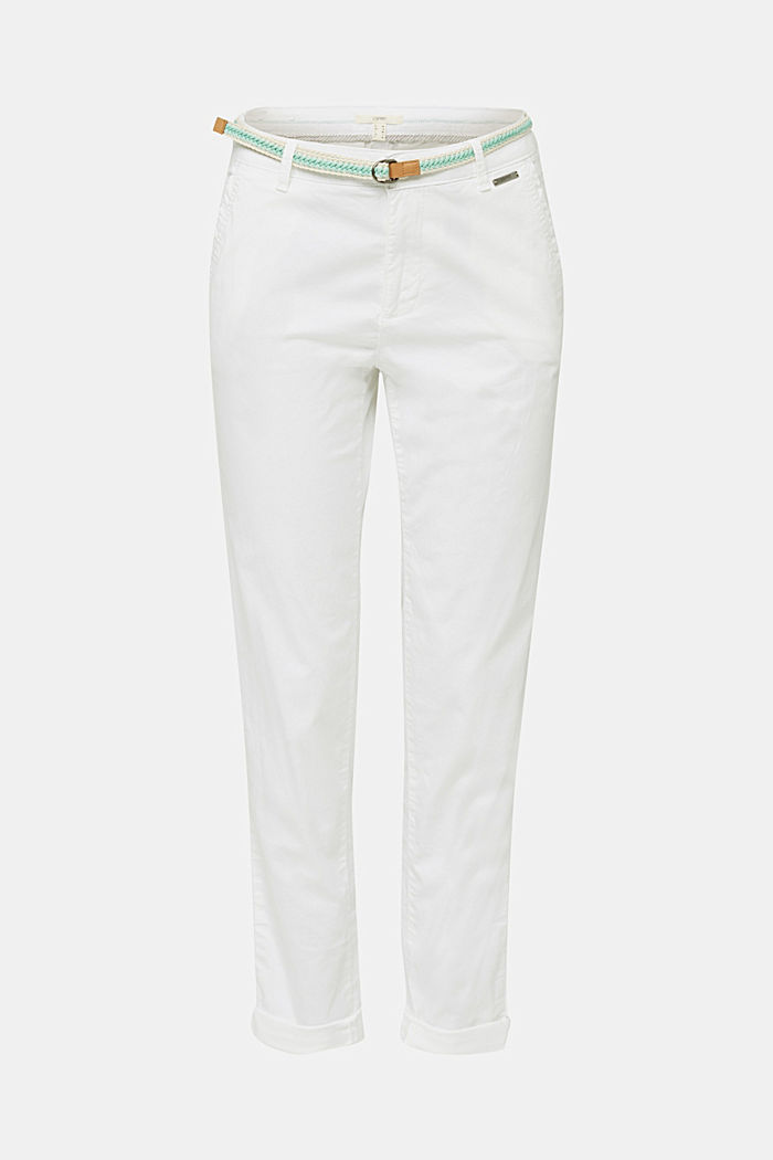 Summer chinos with belt and stretch
