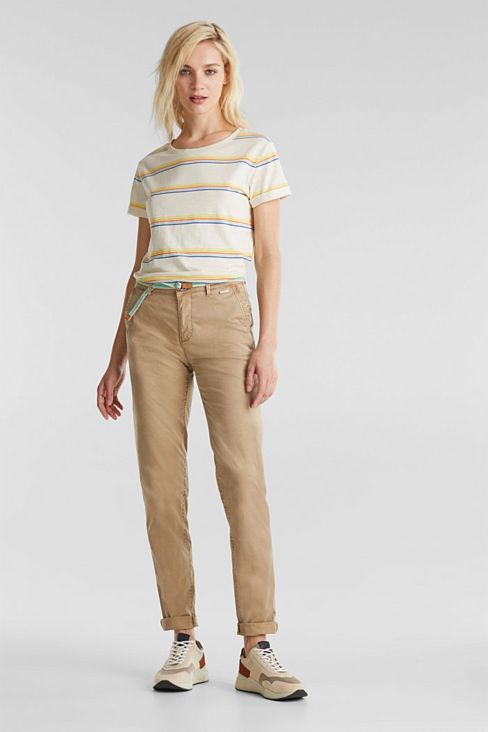 Summer chinos with belt and stretch, BEIGE, detail image number 0
