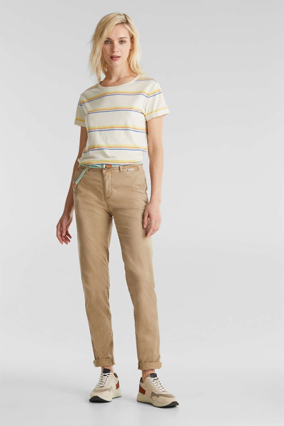Esprit - Summer chinos with belt and stretch