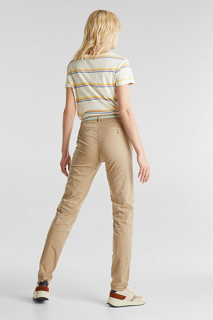 Summer chinos with belt and stretch, BEIGE, detail image number 3