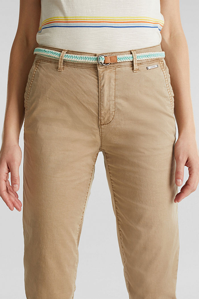 Summer chinos with belt and stretch, BEIGE, detail image number 2