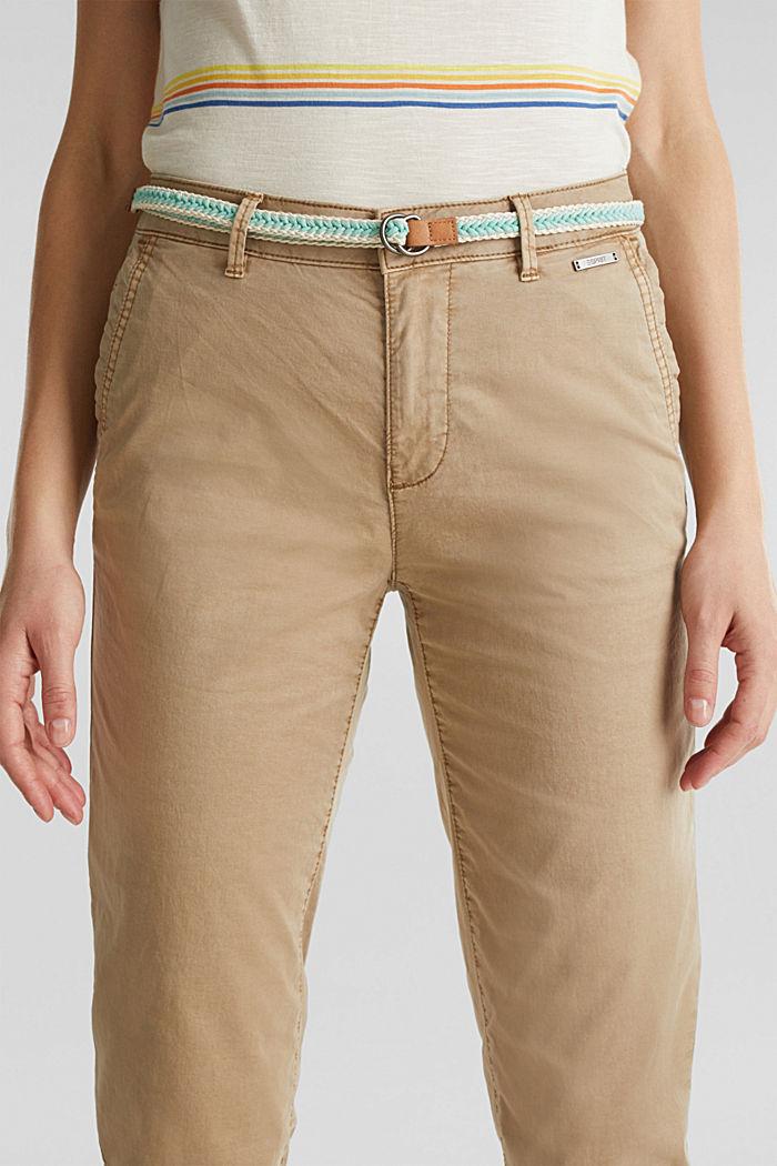 Chino pour l´été muni d´un ceinture à teneur en stretch, BEIGE, detail image number 2