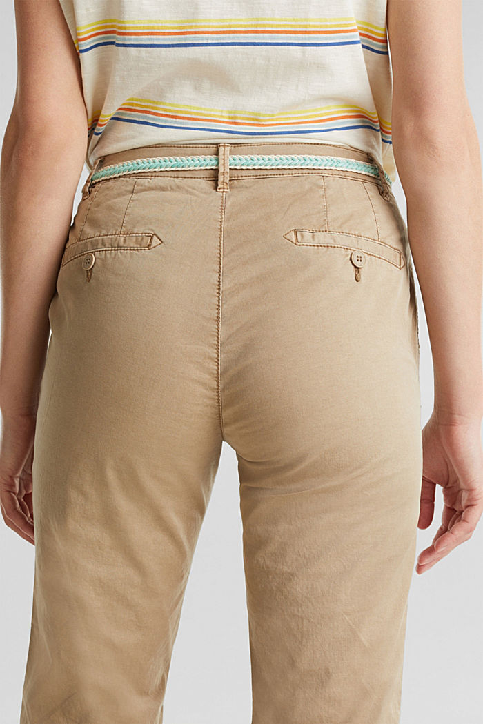 Summer chinos with belt and stretch, BEIGE, detail image number 5