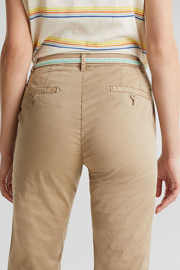 Chino pour l´été muni d´un ceinture à teneur en stretch, BEIGE, detail image number 5