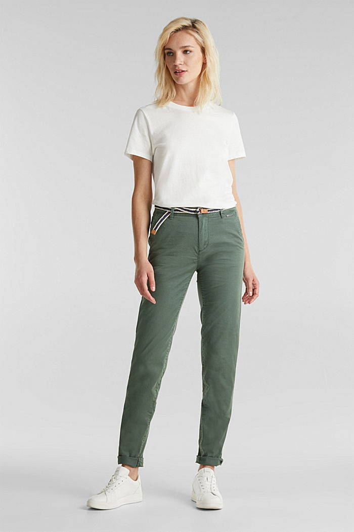 Summer chinos with belt and stretch, KHAKI GREEN, detail image number 0
