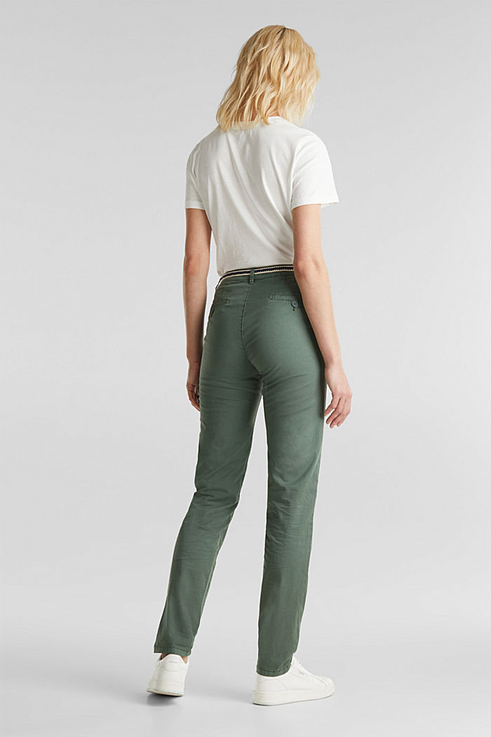 Summer chinos with belt and stretch, KHAKI GREEN, detail image number 3