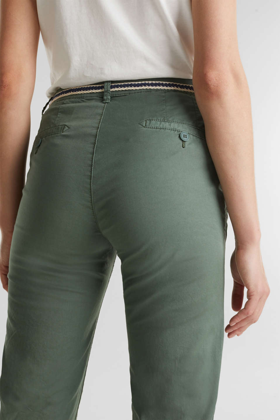 Summer chinos with belt and stretch, KHAKI GREEN, detail image number 5