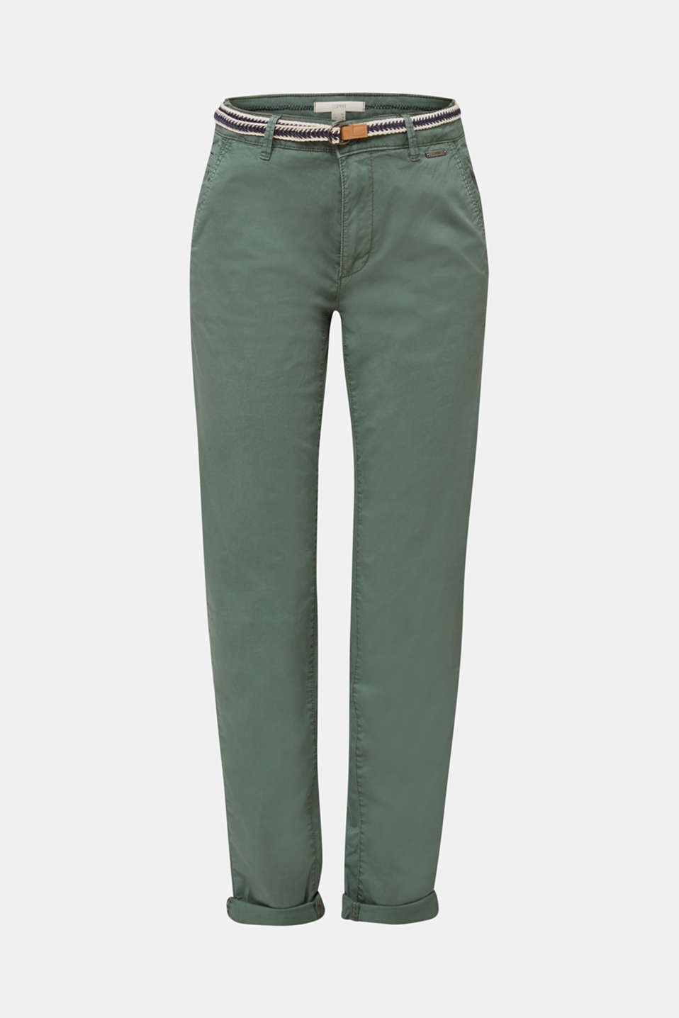 Summer chinos with belt and stretch, KHAKI GREEN, detail image number 6