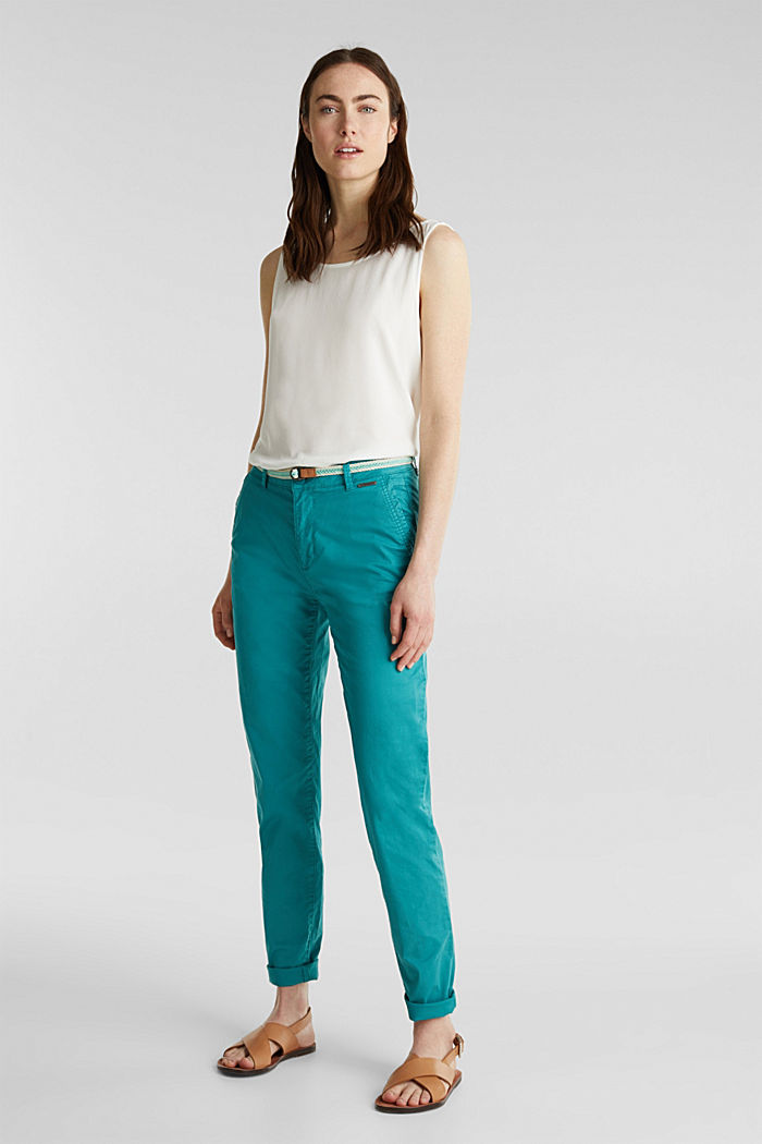 Summer chinos with belt and stretch, TEAL GREEN, detail image number 0
