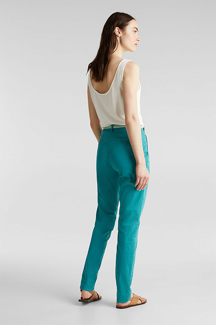 Summer chinos with belt and stretch, TEAL GREEN, detail image number 3