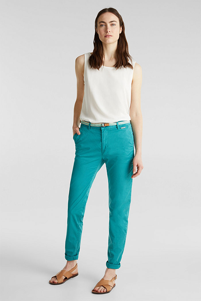 Summer chinos with belt and stretch, TEAL GREEN, detail image number 1