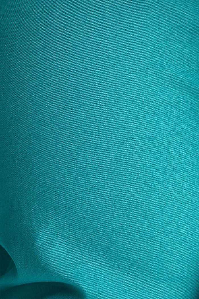 Summer chinos with belt and stretch, TEAL GREEN, detail image number 4
