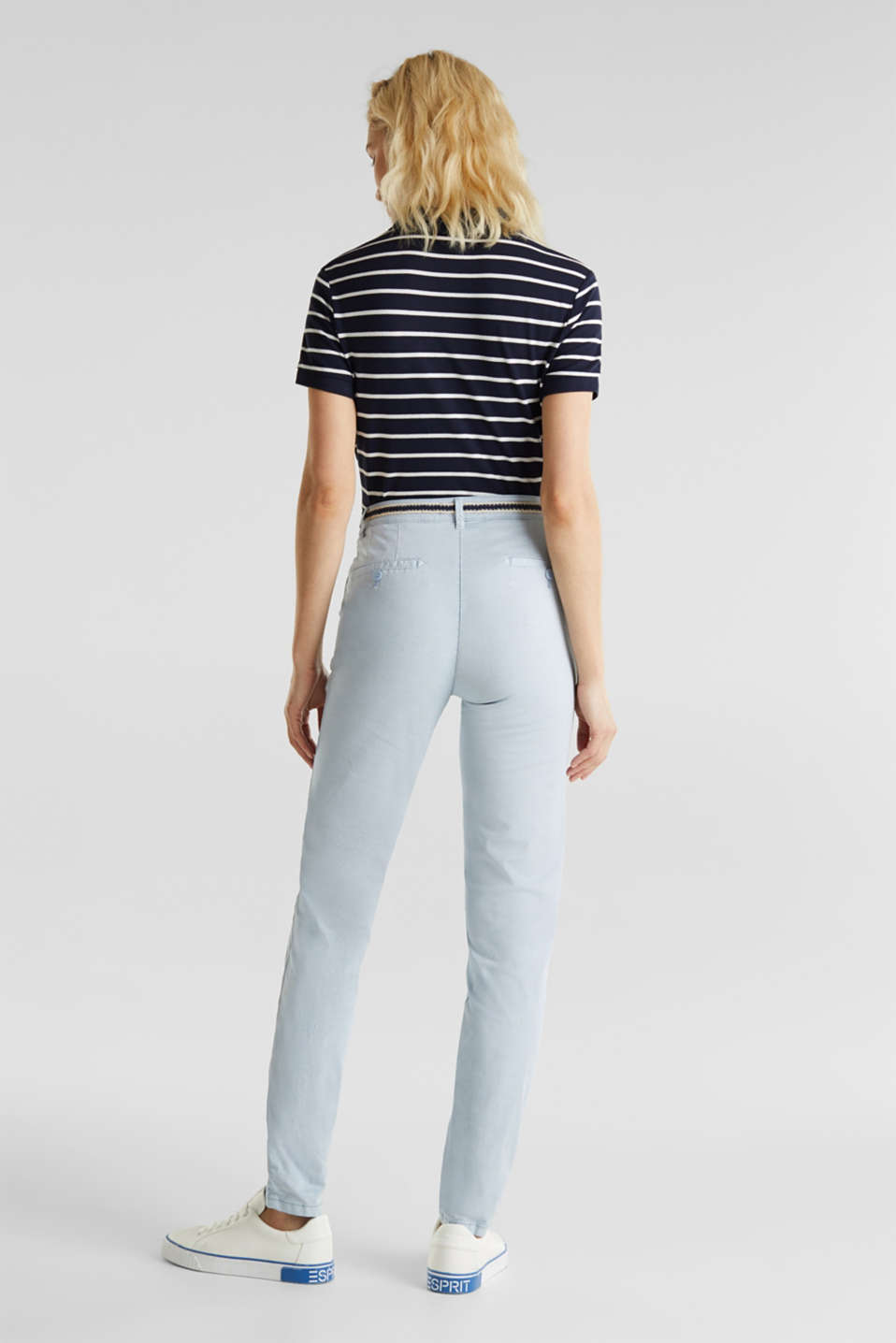 Summer chinos with belt and stretch, LIGHT BLUE, detail image number 3