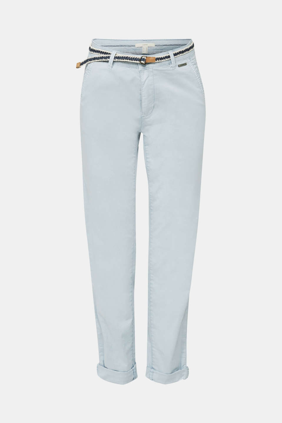 Summer chinos with belt and stretch, LIGHT BLUE, detail image number 6